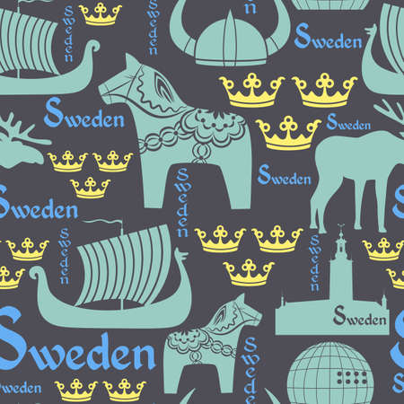 seamless pattern with national symbols of Sweden on the blue background
