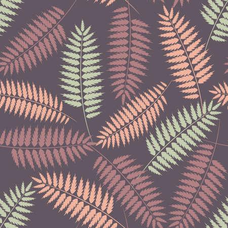 パステル カラーのシダの葉と紫のシームレスなパターン  イラスト・ベクター素材