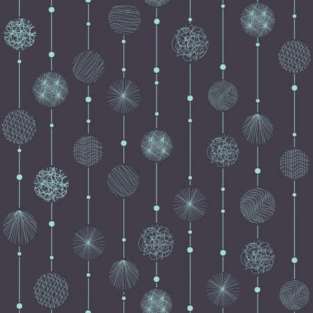 Seamless pattern with blue floral ornate on the dark background  Vector