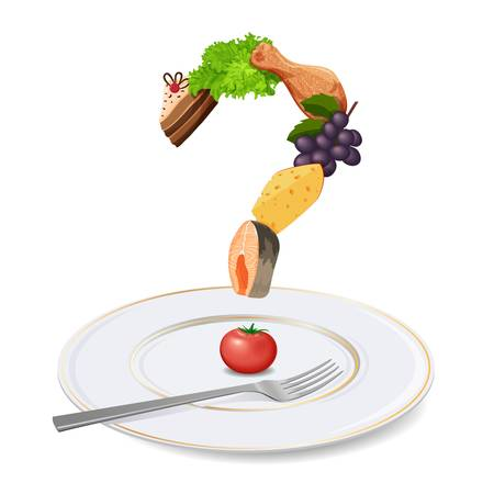 別の食事から成っている板の食事と健康的な栄養の概念上のクエスチョン マーク