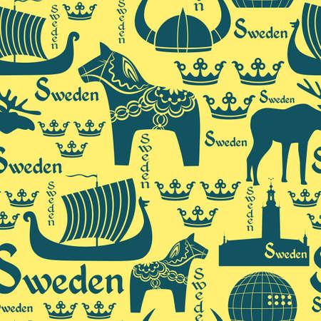 노란색 배경에 스웨덴의 국가적 상징 원활한 패턴 일러스트