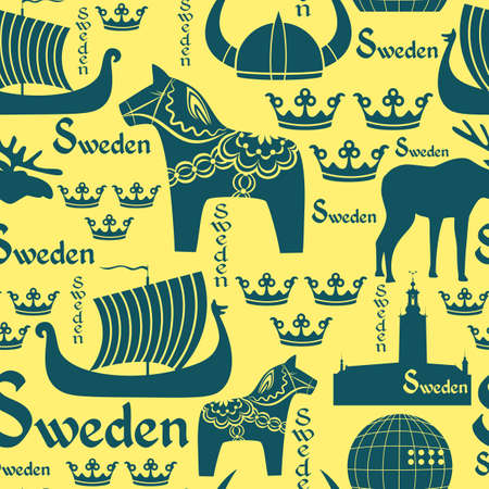 viking helmet:  seamless pattern with national symbols of Sweden on the yellow background