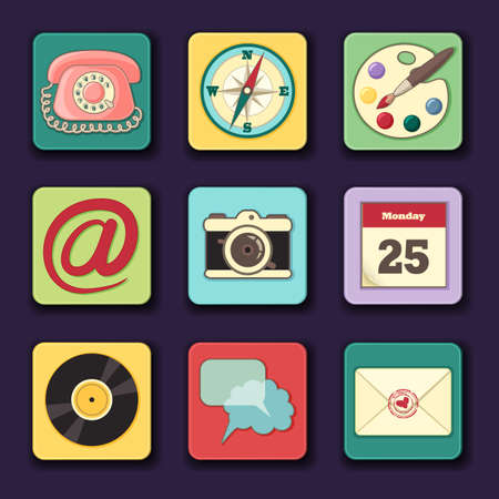 overs: set of icons for different applications like mail, chat and overs Illustration
