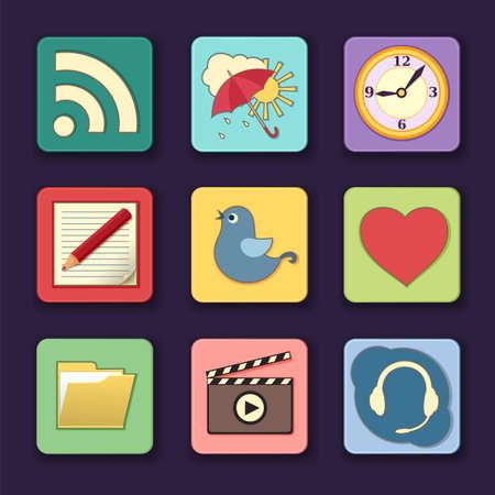 天気、ビデオ、およびナレーションのようなさまざまなアプリケーションのアイコンの図  イラスト・ベクター素材
