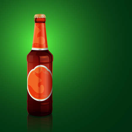 Illustration of brown beer bottle with label on the green background Vector