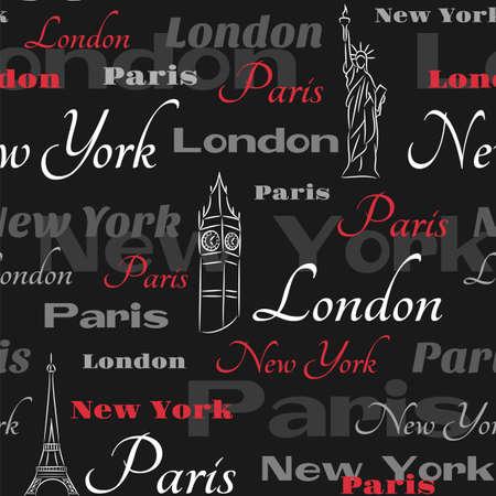 검은 색 바탕에 도시 뉴욕, 런던, 파리의 상징과 원활한 패턴 일러스트