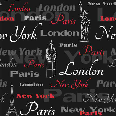 visit us: Seamless pattern with symbols of cities New York, London, Paris  on the black background