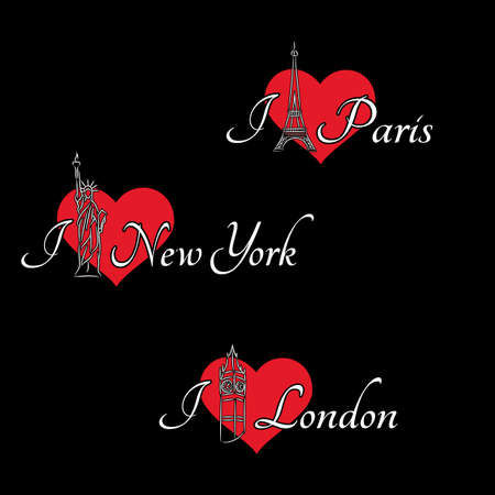 visit us: Set of inscriptions I love London, Paris, New York on the black background