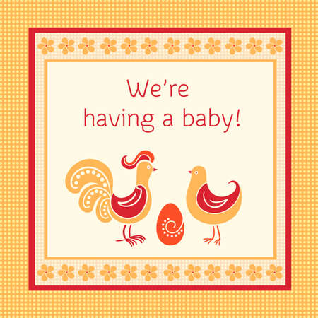 red hen:  illustration with cock hen and egg, concept of we are having a baby Illustration