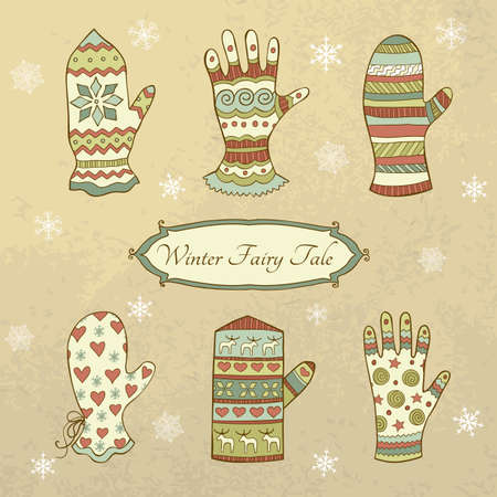 Vintage set with hand-drawn mittens and gloves in pastel colours Vector