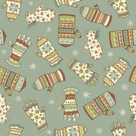 スケッチのミトン及び手袋の冬の背景とビンテージ シームレス パターンをベクトル