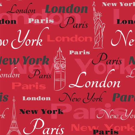 赤の背景にテキスト ニューヨーク、ロンドン、パリとパターン