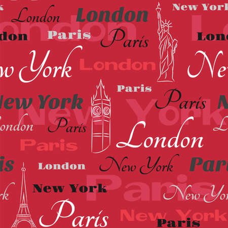 visit us: pattern with text New York, London, Paris  on the red background