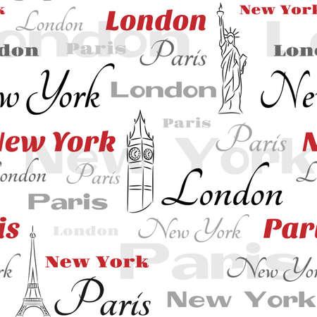 Light seamless pattern with symbols of popular cities New York, London, Paris