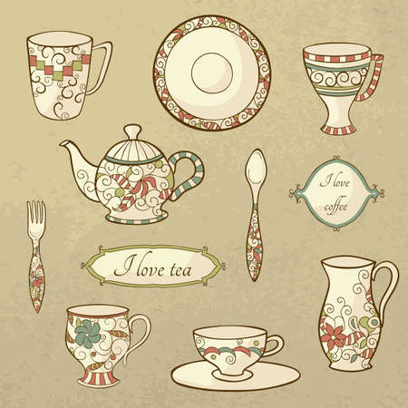 Vector set with plate, teapot and cups in retro style Vector