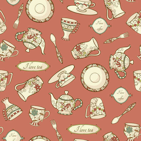 Vector pattern with plate, teapot and cups on the pink background Vector