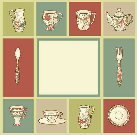 Vintage greeting card with plate, teapot and cups Vector
