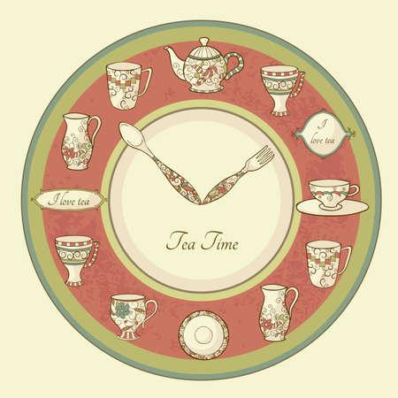 ティーポットとカップとテキストお茶の時間時計のヴィンテージのイラスト  イラスト・ベクター素材