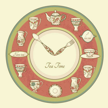 Vintage illustration of clock with teapot and cups and text Tea Time