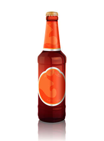 photo realism: Vector illustration of  beer bottle with orange label on the white background