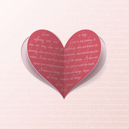 poems: Vector paper heart with quote from Bible about true love