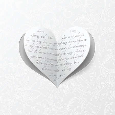 ベクトルを中心に真の愛についての聖書の引用と紙からクリップ
