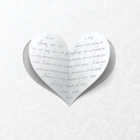 poems: Vector heart clipped from the paper with Bible quote about true love Illustration
