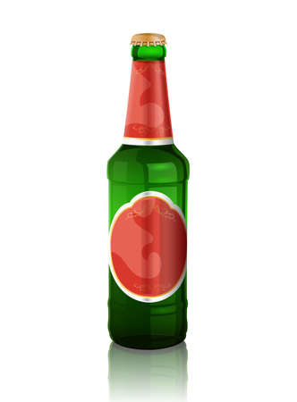 Green  beer bottle with red label and reflection on the white background Vector