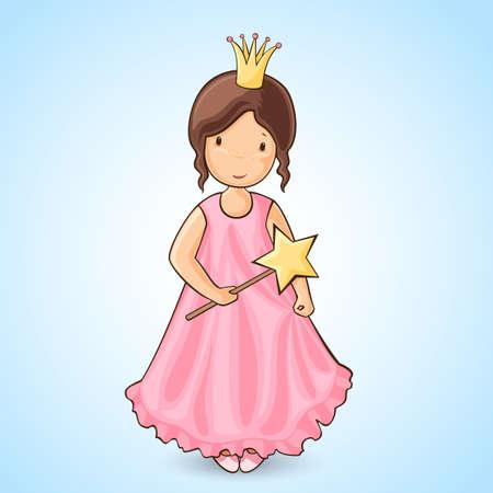 magic young: Sweet little girl in pink pincess dress Cartoon style
