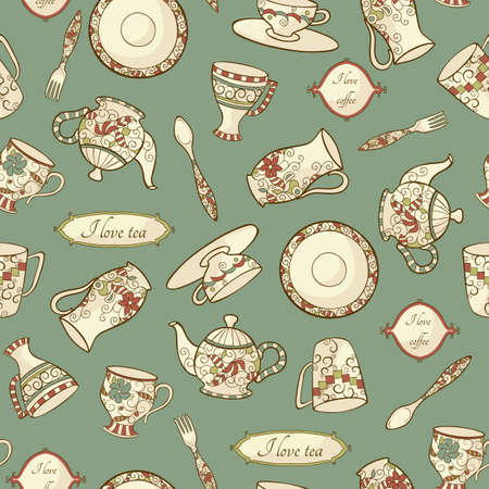 pattern with retro dishware on the blue background Vector