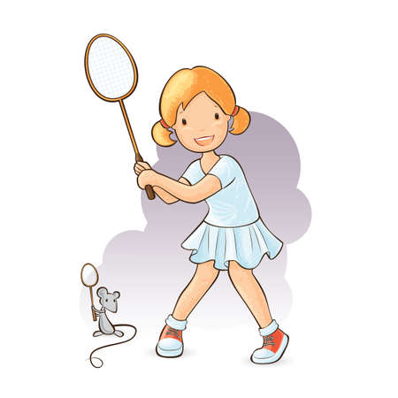 badminton racket: Little girl playing badminton with her mouse