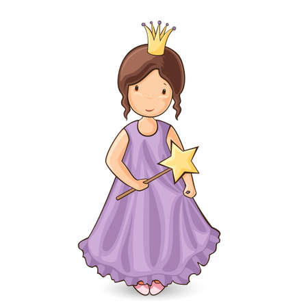 one story: illustration of little princess in purple dress