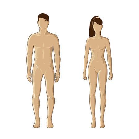 갈색 색상 남성과 여성의 마네킹