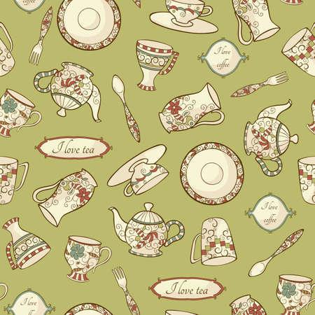 Vintage pattern avec vaisselle sur le fond vert Vecteurs