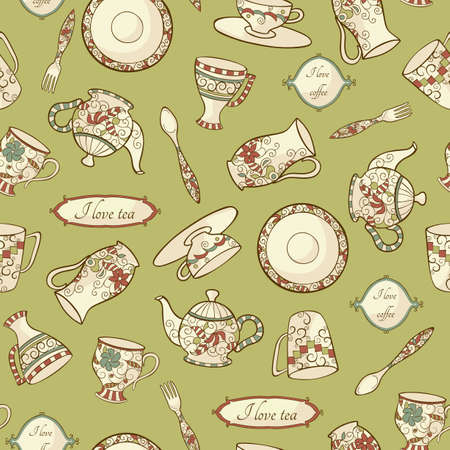 Vintage pattern with  dishware on the green background Vector