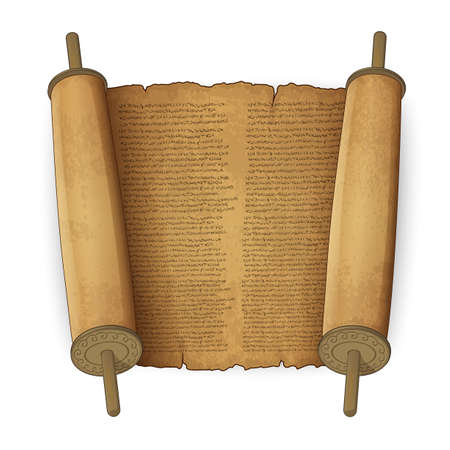 hebrew letters: Vector illustration of ancient scrolls with text imitation