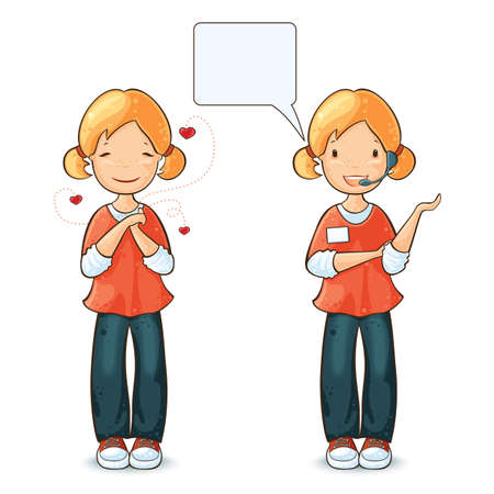 Girl speaking by headset with speech bubble and  girl in love  Vector