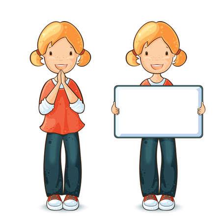 ni�os contentos: Muchacha que sostiene un tablero para el texto y la ni�a feliz gritando S�