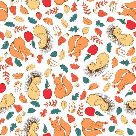 Vector seamless pattern with baby-animals and forest theme 矢量图像