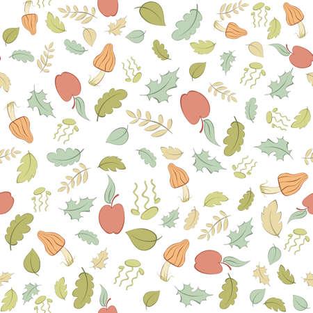 リンゴ、キノコと葉とシームレスなパターン ベクトル  イラスト・ベクター素材