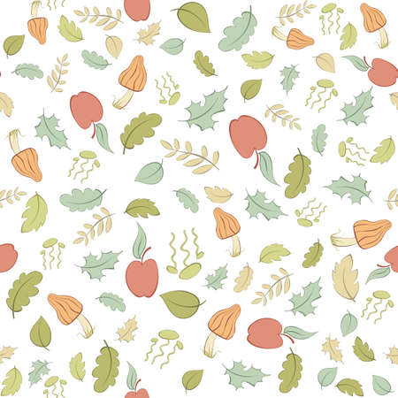 Vector seamless pattern with apples, mushrooms and leaves Vector
