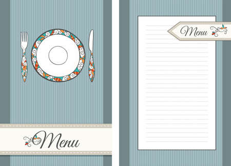 back kitchen: template of front and back pages for Menu Illustration