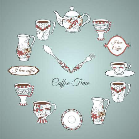 食器やテキスト コーヒー タイム クロックのヴィンテージのイラスト  イラスト・ベクター素材