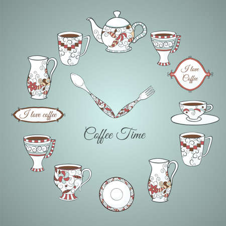 Vintage illustration of clock with dishware and text Coffee Time Vector