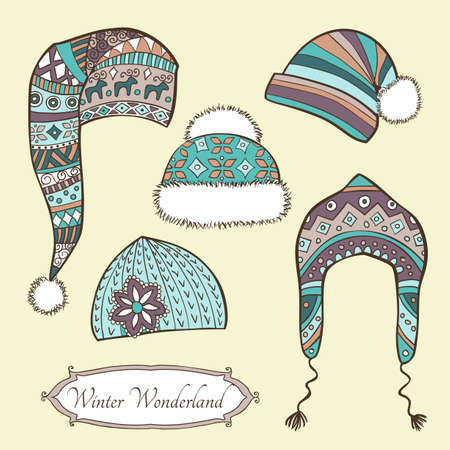fur cap: set with hand-drawn caps in vintage retro style