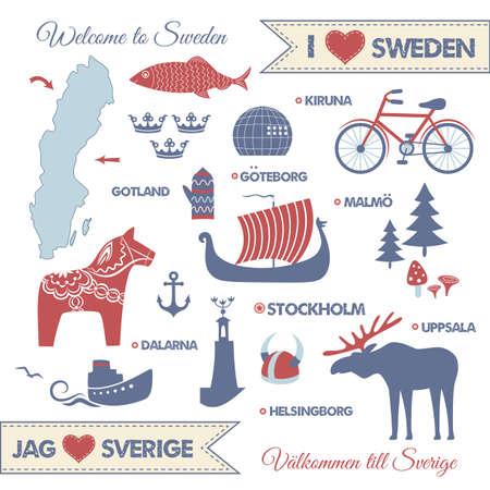 conjunto con elementos de diseño de los símbolos de Suecia y mapa