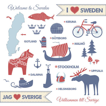 swedish: set with design elements of symbols of Sweden and map