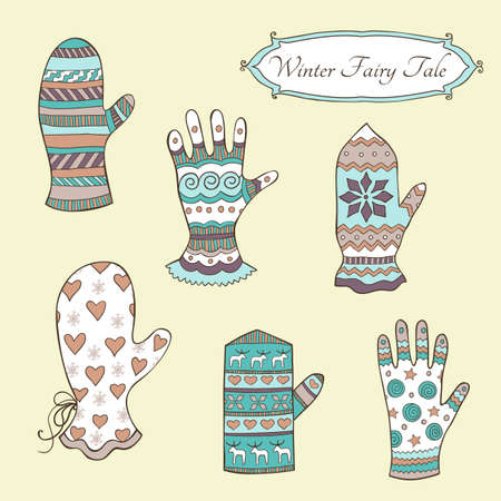 set with hand-drawn mittens and gloves in vintage retro style Illustration