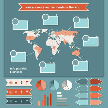 Vector set of elements for infographic for visualization events and incidents Vector