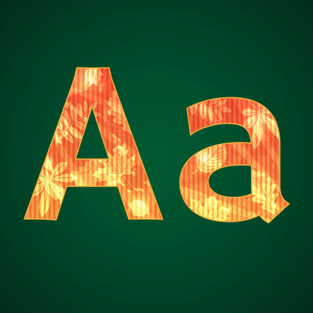 Vector letter A with autumn leaves upper and lower cases Vector